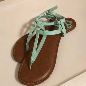 Mint green Patent Leather Sandals